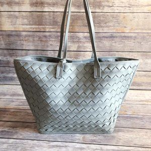 Atmosphere Pistachio Woven Faux Leather Tote Bag